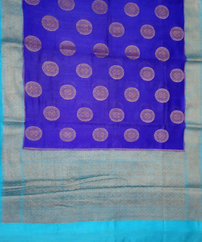 Banarasi Cobalt blue and Sky Blue Handwoven Katan Silk Saree