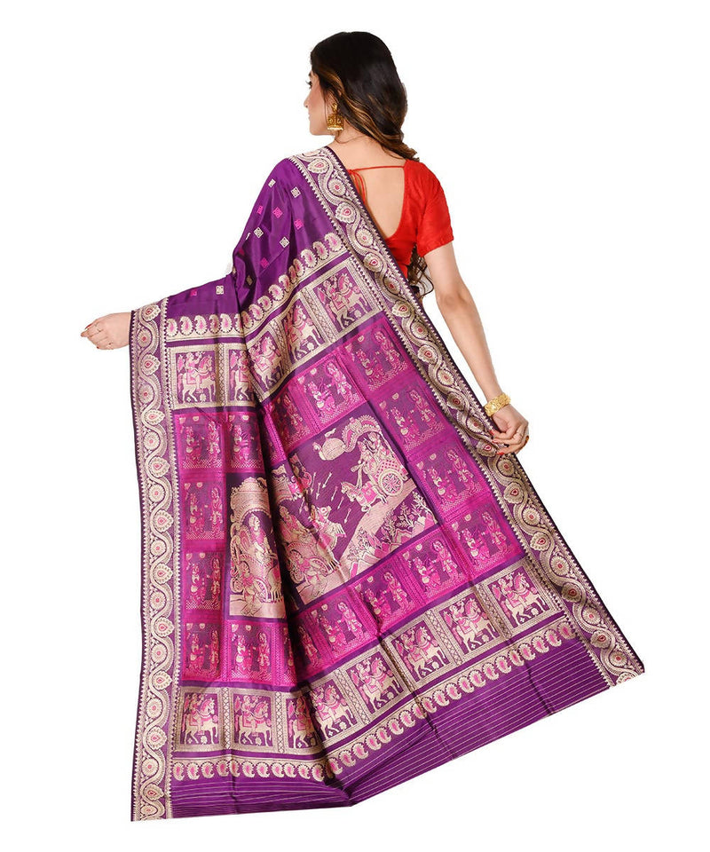 Bengal handloom purple baluchari silk saree