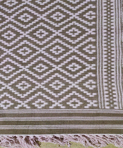 White and brown Handwoven Warangal Dhurrie