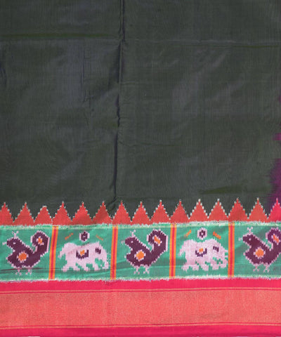 Dark Forest Green Handloom Ikkat Silk Saree