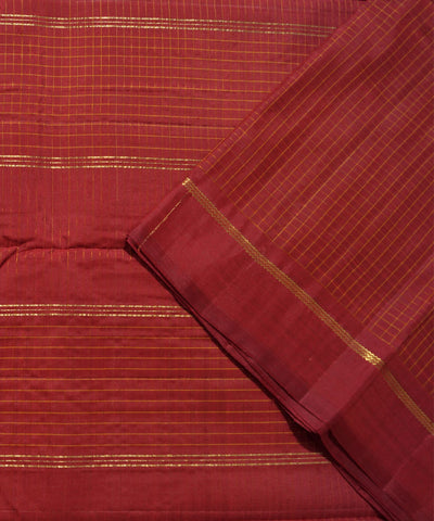 Maroon Checks Handwoven Arni Silk Saree