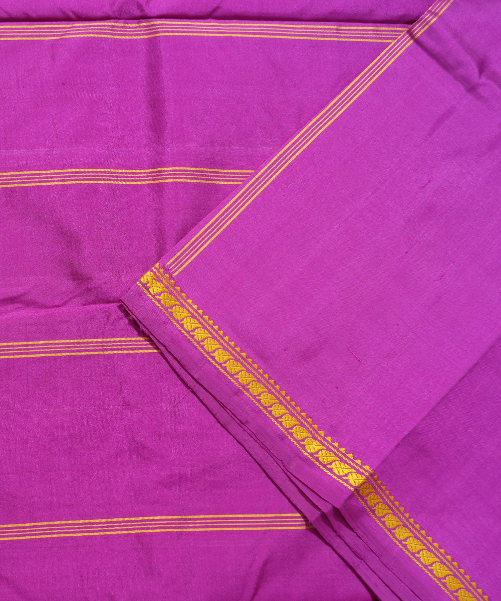 Pink Purple Handwoven Arni Silk Saree