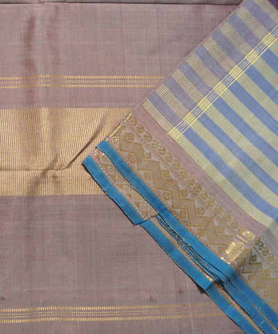 Blue and Brown Handwoven Arni Silk Saree