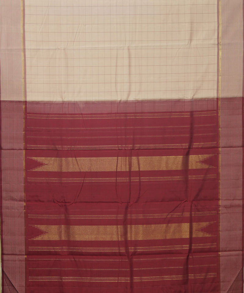 Cream Maroon Handwoven Arni Silk Saree