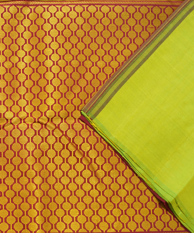Parrot Green Red Handwoven Arni Silk Saree