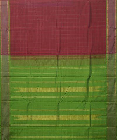 Maroon Green Yellow Handwoven Arni Silk Saree