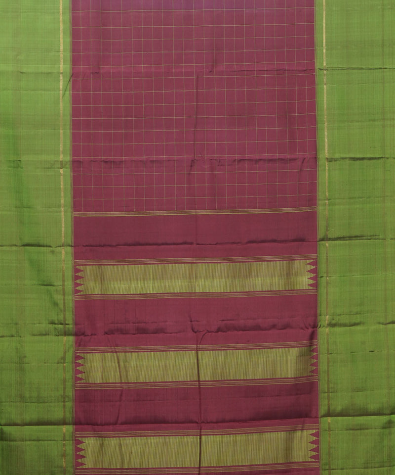 Maroon Green Handwoven Arni Silk Saree
