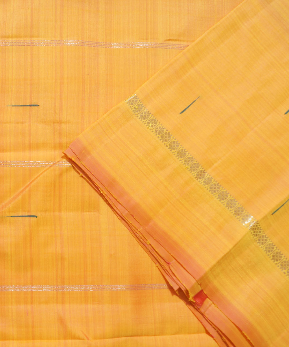 Golden Orange Handwoven Arni Silk Saree