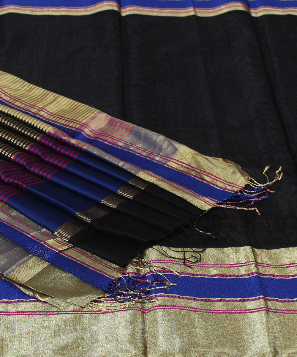 Maheshwari Handwoven Black Navy Sico Saree