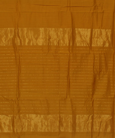 Maheshwari Handwoven Mustard Brown Sico Saree
