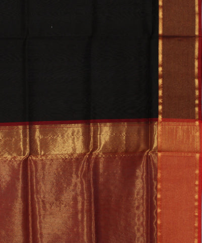 Maheshwari Handwoven Black, Red Zari Saree