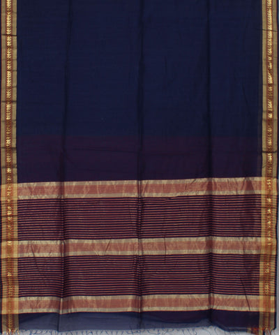 Maheshwari Handwoven Dark Blue Sico Saree