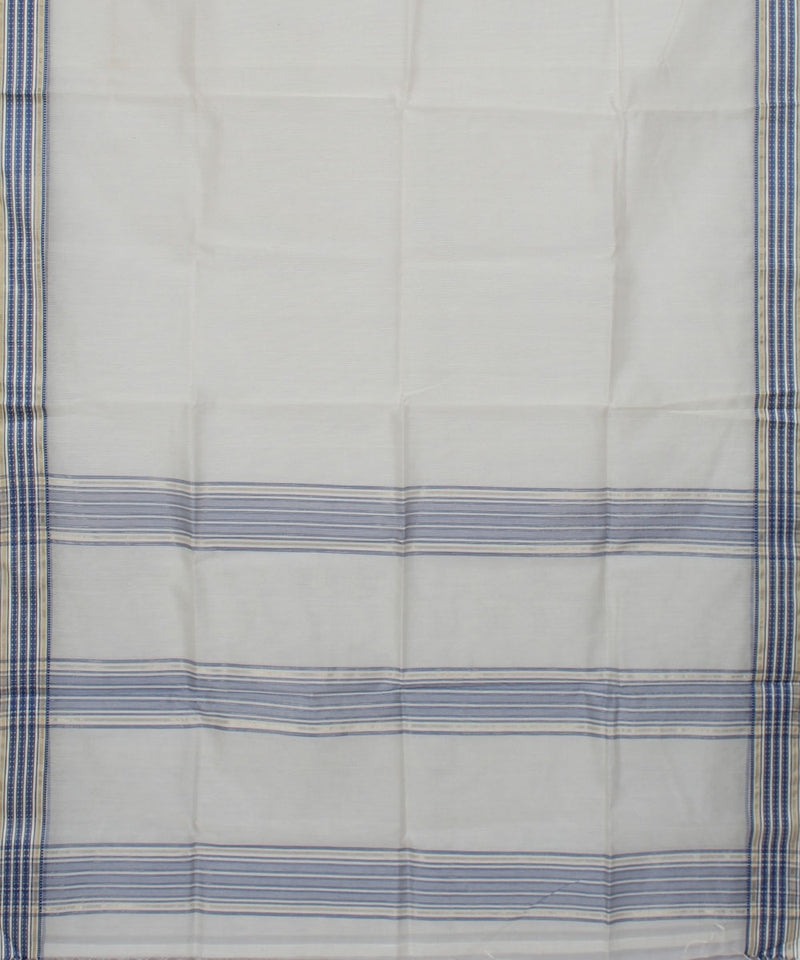 Maheshwari White Blue Handwoven Sico Saree