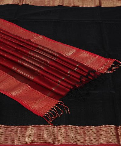 Maheshwari Black Red Handwoven Sico Saree