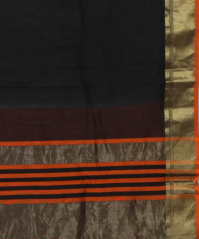 Maheshwari Handwoven Black Orange Sico Saree