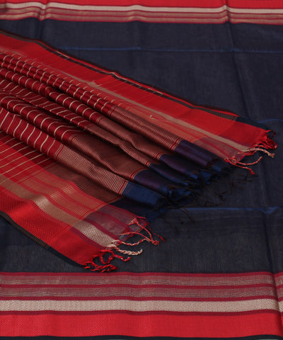 Maheshwari Navy Blue and Red Handwoven Saree