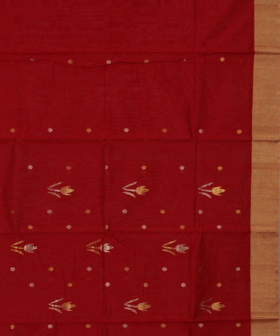 Chanderi Red Handwoven Sico Saree