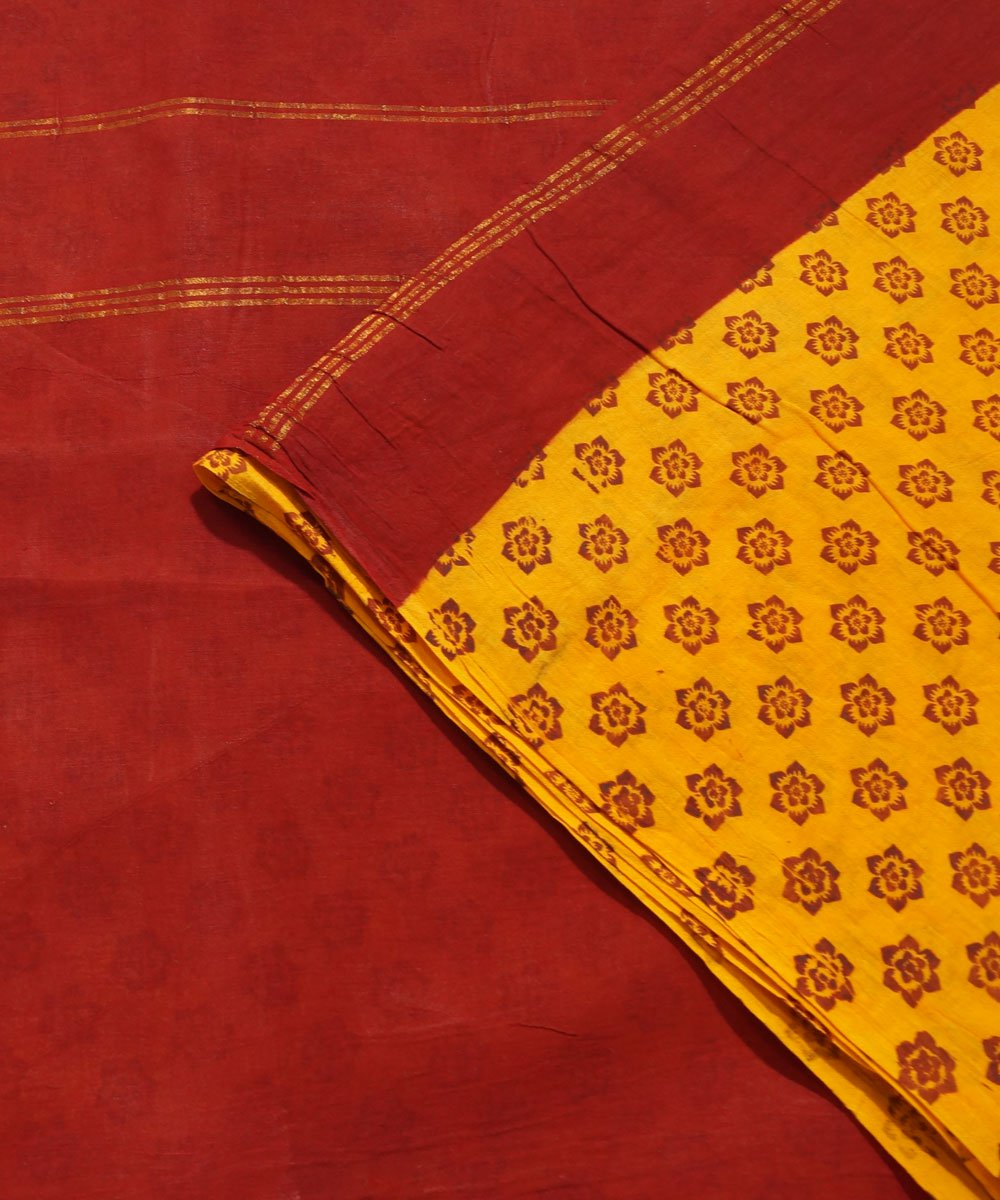 Sungudi Yellow Maroon Cotton Madurai Saree