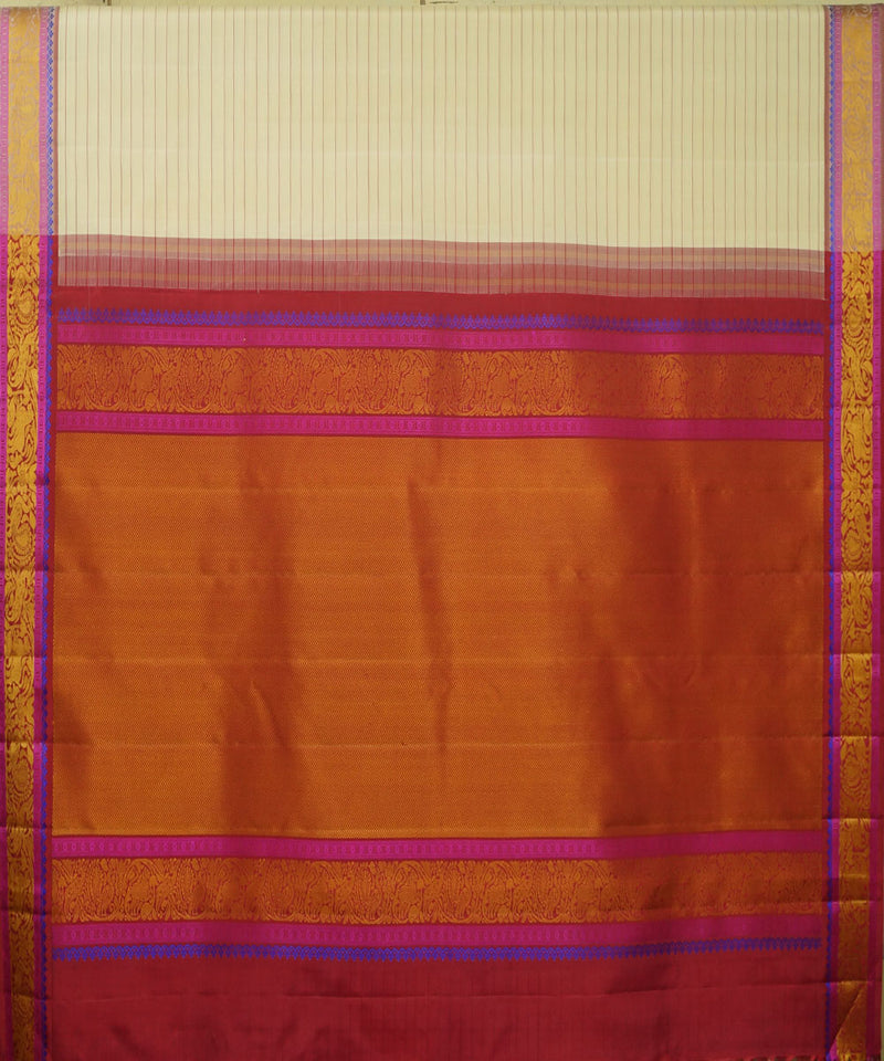 Beige Red Handwoven Arni Silk Saree