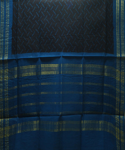 Sungudi Black and Blue Cotton Madurai Saree