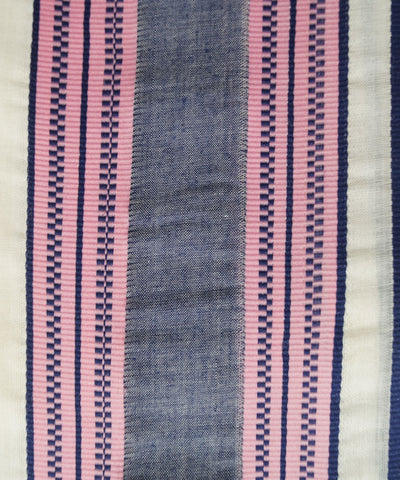 Handwoven Off White Blue Double Cotton Dhoti