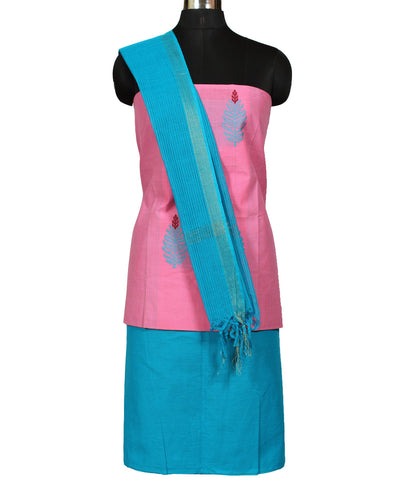 Pink and Blue Handwoven Dress Material