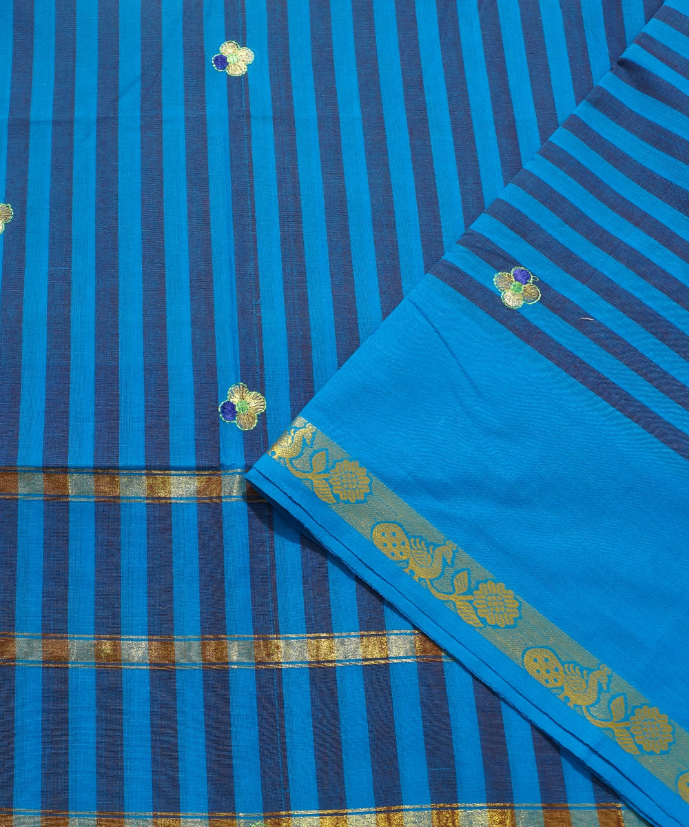 Navy Striped Handwoven Salem Cotton Saree