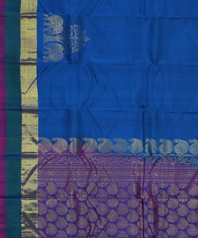 Handwoven Blue Violet Silk Saree