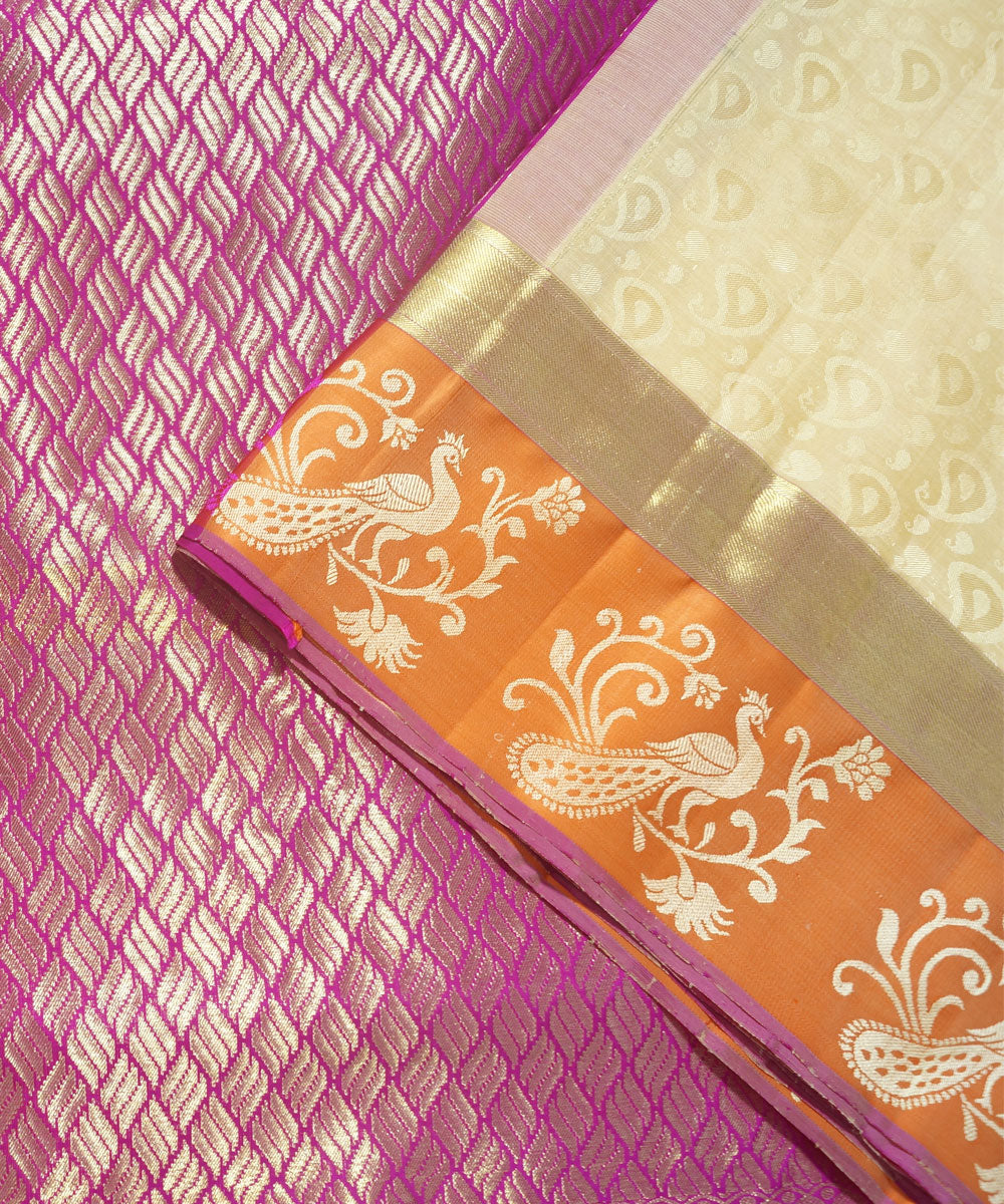 Beige Purple Handwoven Arni Silk Saree