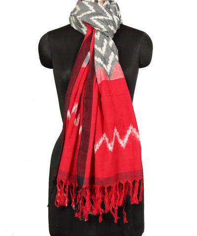 Pochampally Grey Red Handwoven Cotton Dupatta