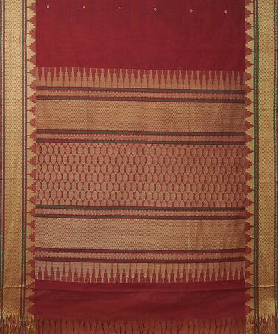 Maroon Handwoven Dindigul Cotton Saree