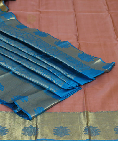 Handwoven Brown and Blue Silk Saree