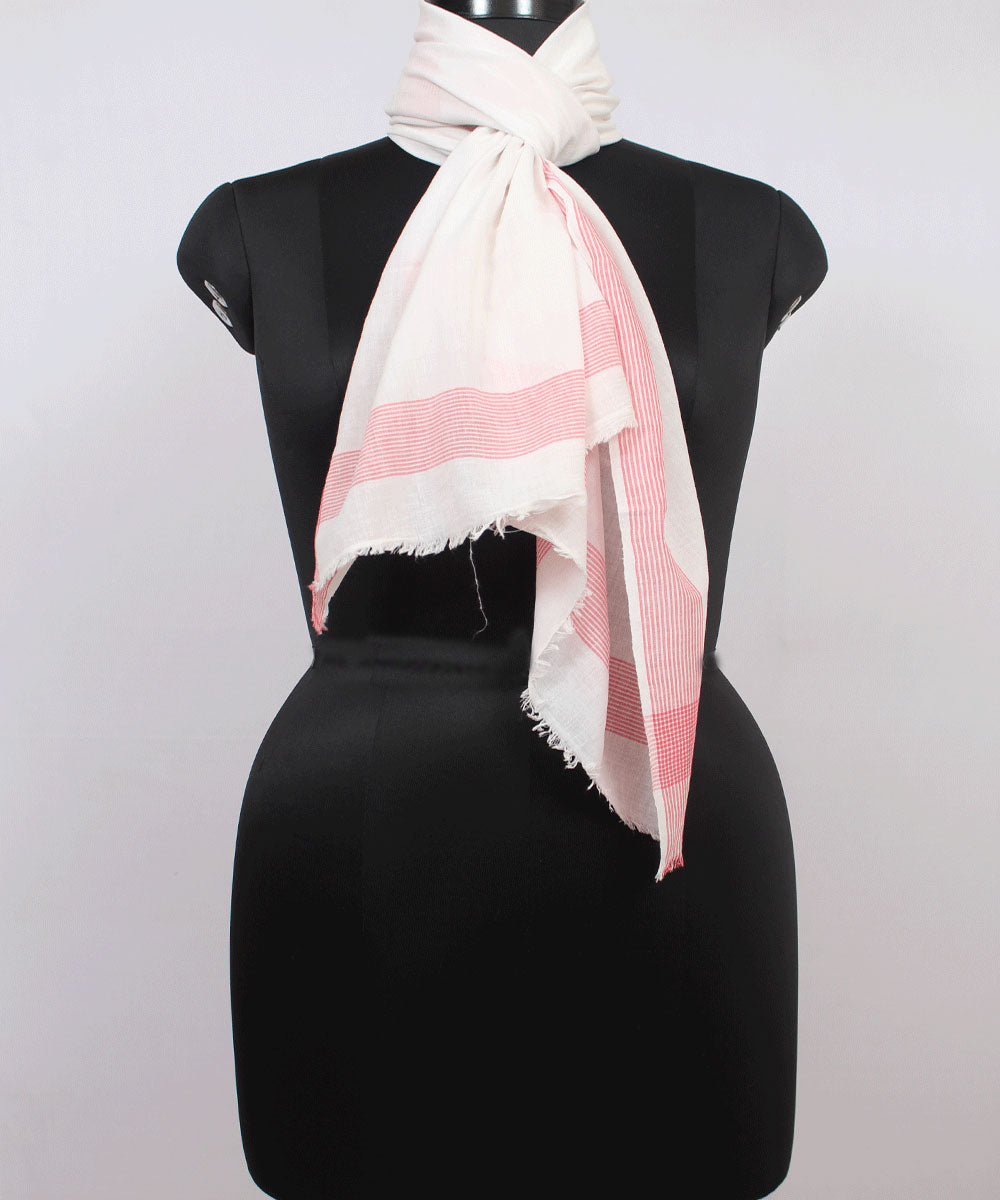 White and Pink Handloom Cotton Stole
