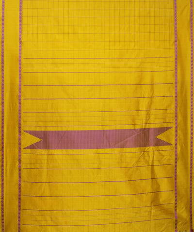 Yellow Checks Handloom Arni Silk Saree