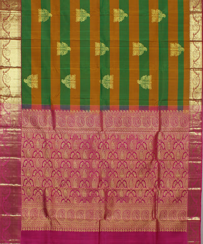 Handwoven Brown Stripes with Pink Silk Saree