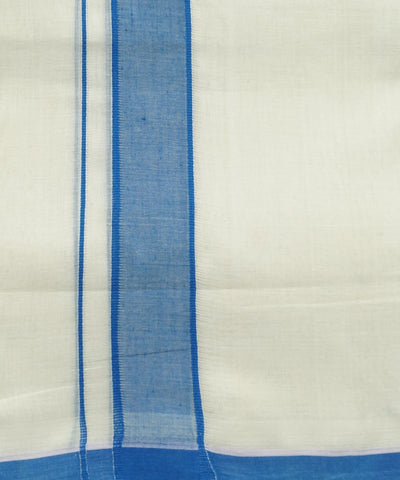 Off White Blue Double Cotton Handwoven Dhoti