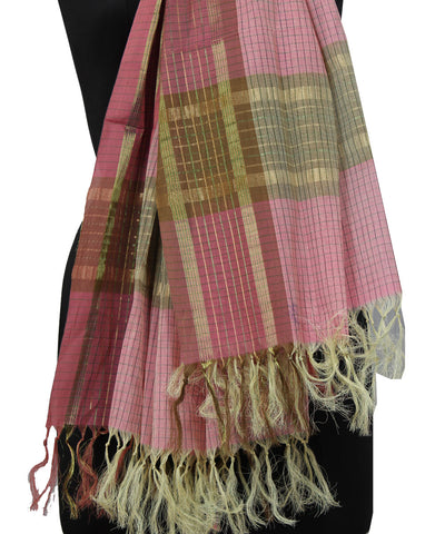 Peach Handwoven Paramakudi Cotton Dupatta