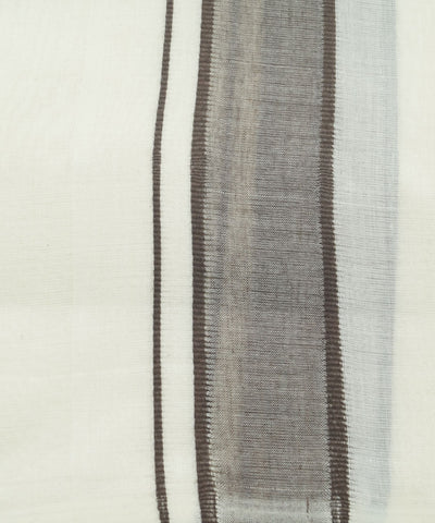 Off White Brown Handwoven Double Cotton Dhoti