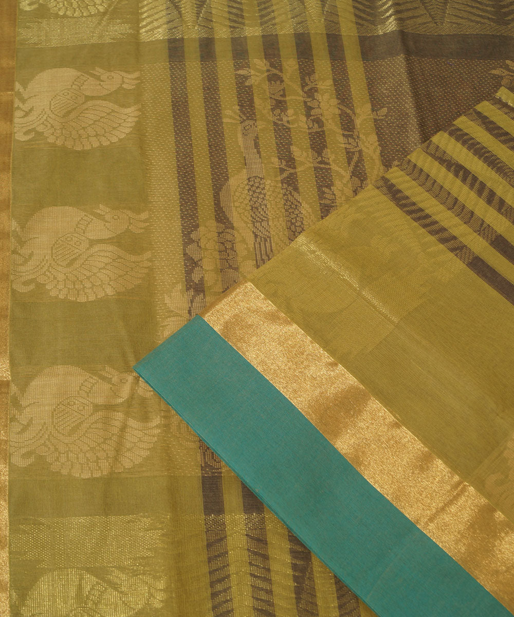 Dark Brown Handwoven Salem Cotton Saree