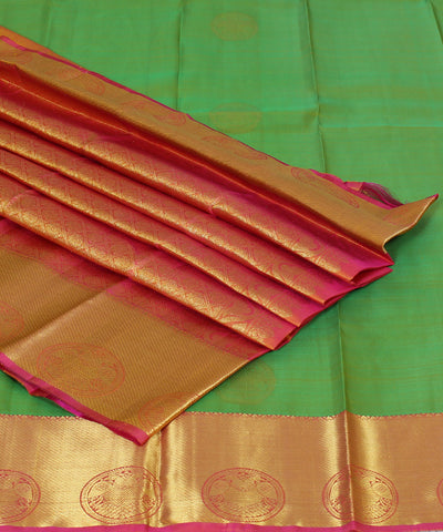 Handwoven Green and Peach Silk Saree