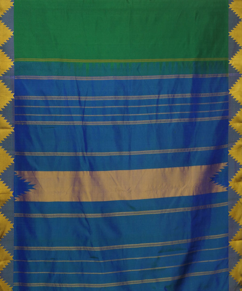 Green and Navy Blue Handloom Arni Silk Saree