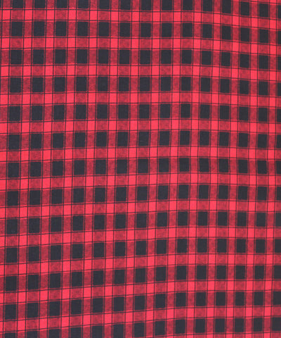 Khadi Nation Handwoven Red and Black Printed Checks Cotton Khadi Fabric