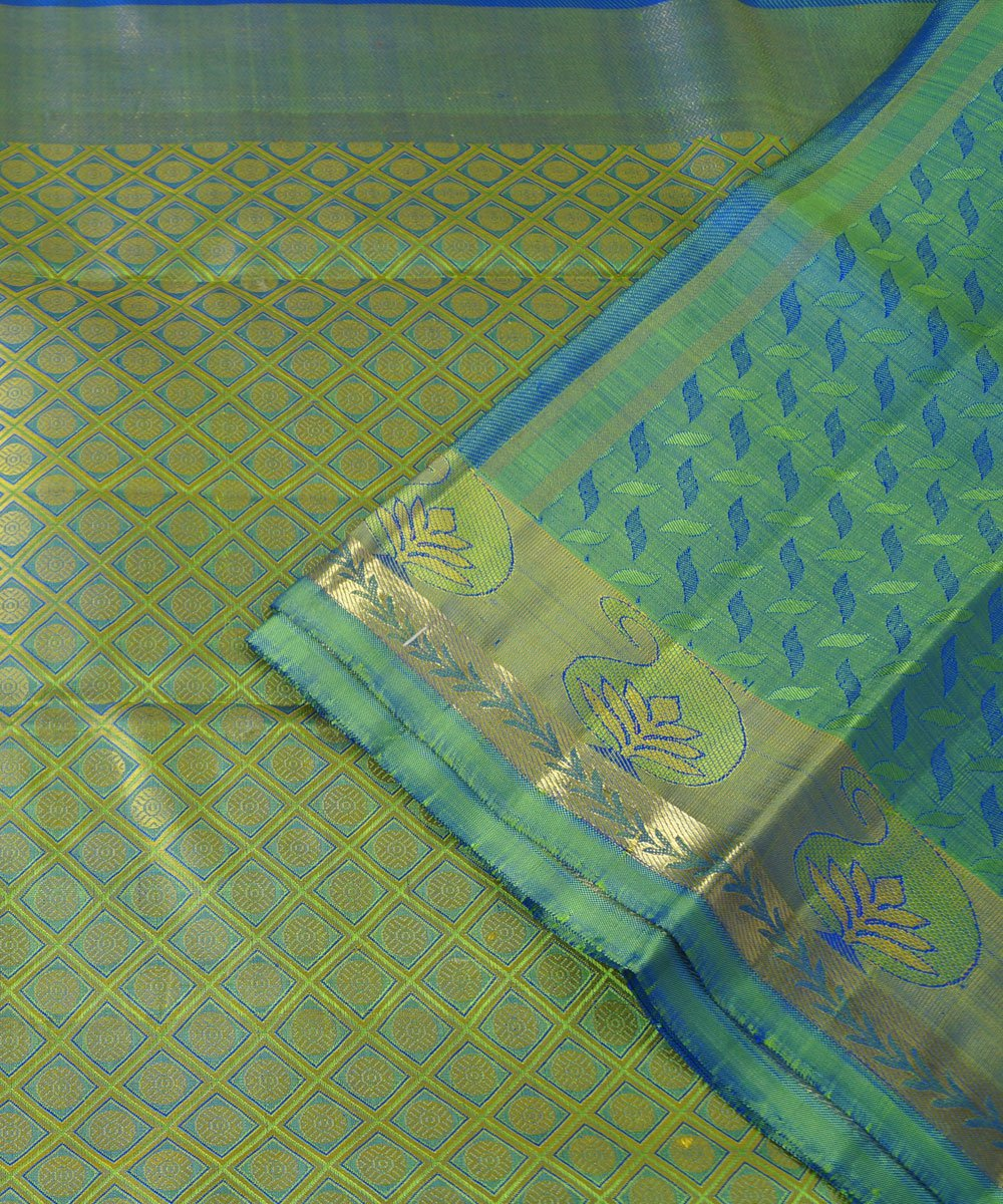 Kanchipuram Blue Green Handloom Silk Sarees