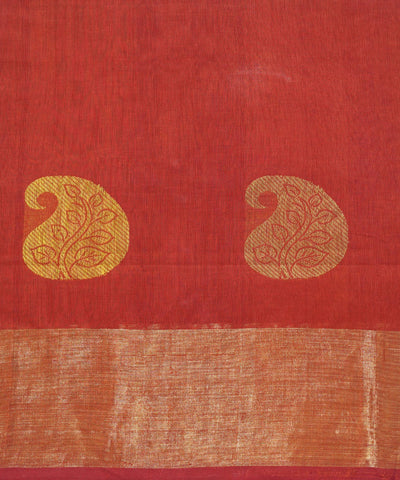 Red Orange Handwoven Dindigul Cotton Saree