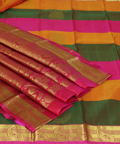 Handwoven Brown, Pink and Orange Silk Saree