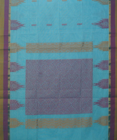 Sky Blue Handwoven Salem Cotton Saree