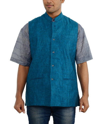 Khadi Nation Blue Handwoven Waist Coat(KAWC03)