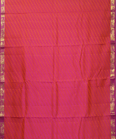 Red Orange Arni Silk Handloom Saree