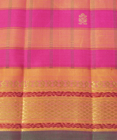 Kanchipuram Pink Orange Handloom Silk Sarees