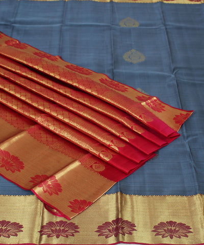 Handwoven Dark Blue Red Silk Saree